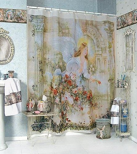 Tropical Rosita Fabric Shower Curtains